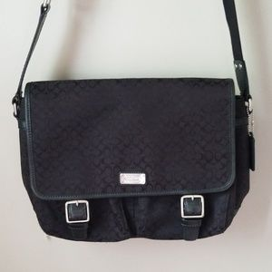 Coach signature messenger tote bag black
